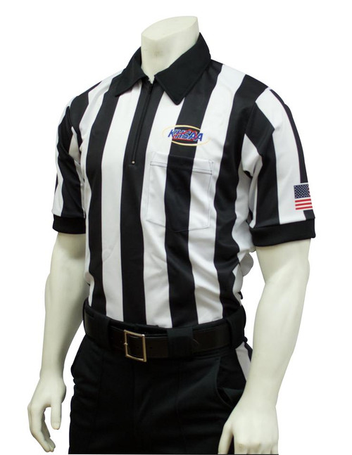 Smitty Official's Apparel Kentucky KHSAA Dye Sublimated 2 inch Stripe Short Sleeve Football Referee Shirt