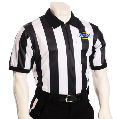"""Smitty Official's Apparel Kentucky KHSAA Embroidered 2"""" Stripe Short Sleeve Elite Football Referee Shirt"""