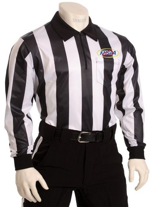 "Smitty Official's Apparel Kentucky KHSAA Embroidered Elite 2"" Stripe Long Sleeve Football Referee Shirt"