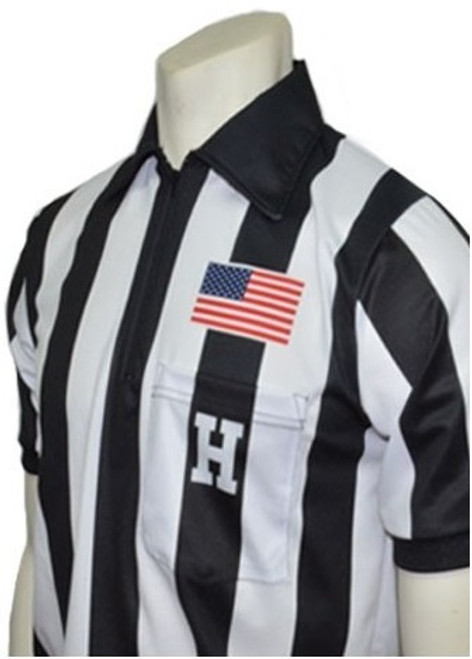 "Smitty Dye Sublimated Short Sleeve 2 1/4"" Stripe Football Referee Shirt with Placket"