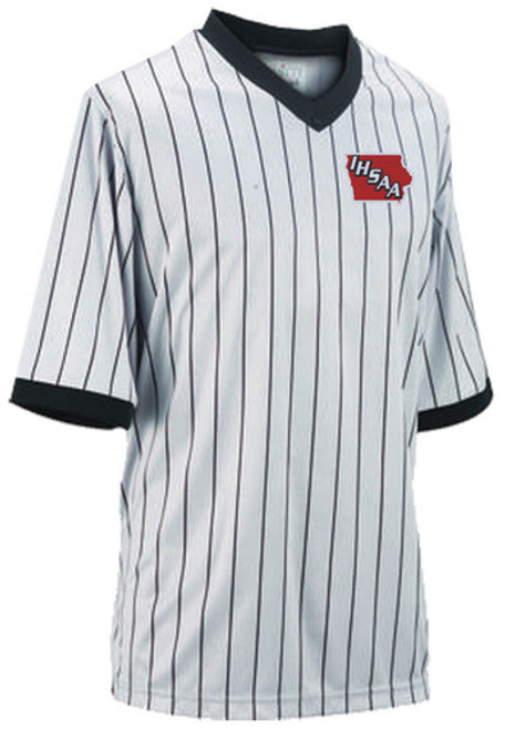 Iowa IHSAA Embroidered Ultra Mesh Grey Pinstripe Shirt