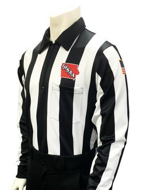 "Iowa IHSAA Dye Sublimated 2 1/4"" Stripe Long Sleeve Football Referee Shirt"