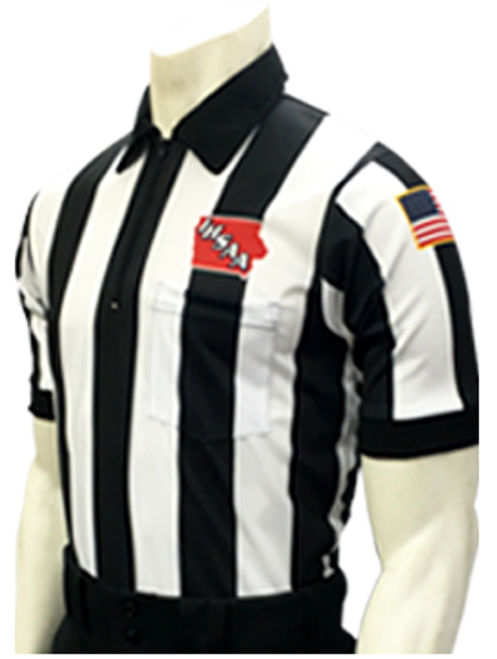 """Smitty Official's Apparel Iowa IHSAA Embroidered 2 1/4"""" Stripe Elite Football Referee Shirt"""