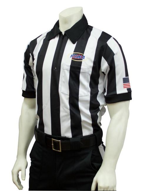 """Smitty Official's Apparel Kentucky KHSAA Body Flex® 2"""" Stripe Short Sleeve Football Referee Shirt"""