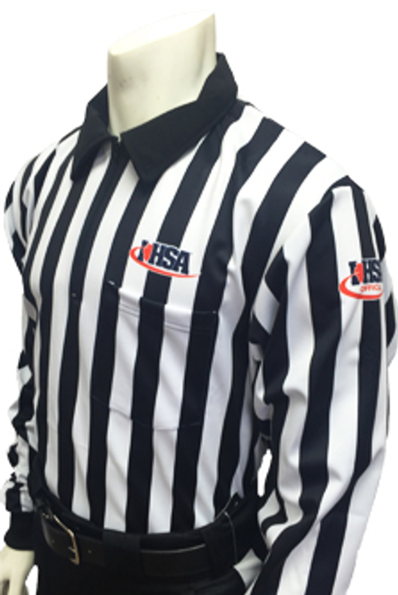 "Illinois IHSA Embroidered Elite 1"" Stripe Long Sleeve Football Referee Shirt"