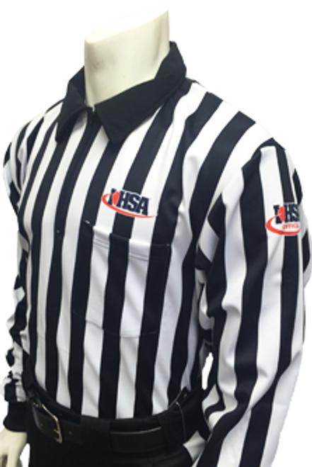 "Illinois IHSA Embroidered Elite 1"" Stripe Long Sleeve Football Referee Shirt"
