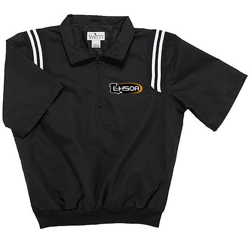 Louisiana LHSOA Black Half Sleeve Umpire Pullover with Black and White Trim