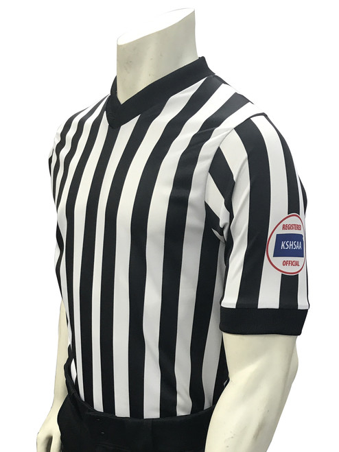 Kansas KSHSAA Men's Body Flex®  Basketball Referee Shirt with Reverse Flag