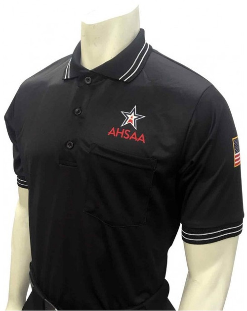 Smitty Official's Apparel Alabama AHSAA Dye Sublimated Short Sleeve Black Umpire Shirt