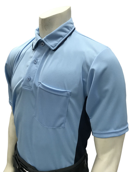MLB Style Powder Blue Umpire Shirt with Navy Side Panel