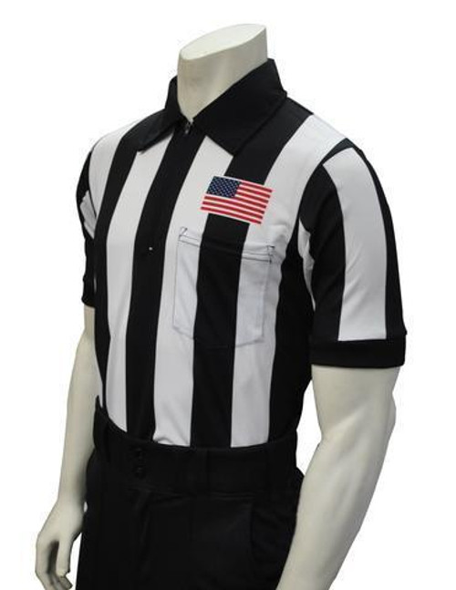 """Smitty Official's Apparel Body Flex® 2 1/4"""" Stripe Short Sleeve Football Referee Shirt With Chest Flag"""