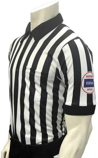 "Smitty Official's Apparel Kansas KSHSAA Body Flex® 1"" Stripe Football Referee Shirt"