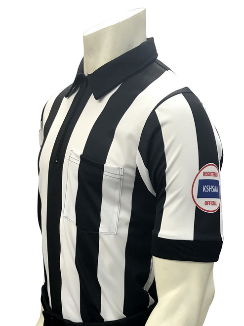 "Smitty Official's Apparel Kansas KSHSAA Short Sleeve 2 1/4"" Dye Sublimated Football Referee Shirt Reverse Flag"