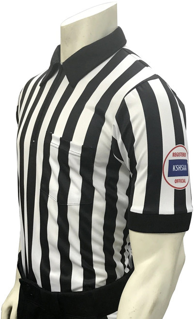 "Smitty Official's Apparel Kansas KSHSAA Short Sleeve 1"" Dye Sublimated Football Referee Shirt Reverse Flag"