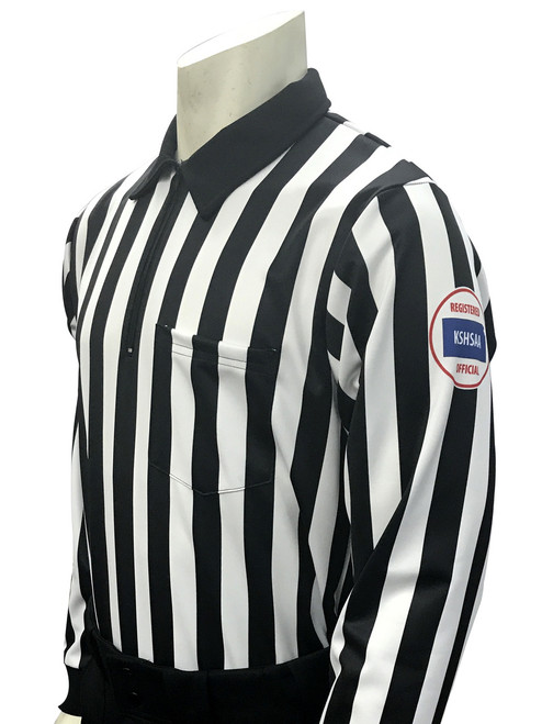 "Smitty Official's Apparel Kansas KSHSAA Dye Sublimated 1"" Stripe Long Sleeve Football Referee Shirt Reverse Flag"