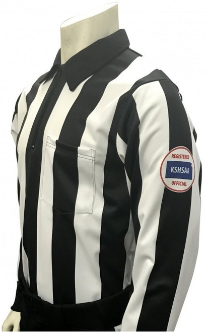 "Smitty Official's Apparel Kansas KSHSAA 2 1/4"" Stripe Foul Weather Long Sleeve Football Referee Shirt"