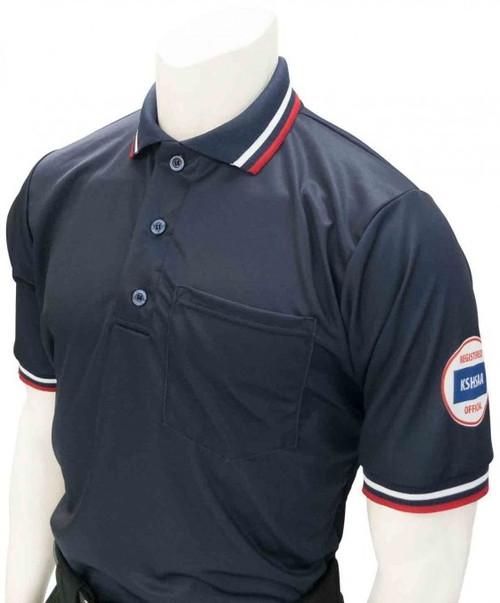 Smitty Official's Apparel Kansas KSHSAA Dye Sublimated Navy Umpire Shirt
