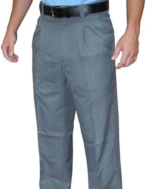 Smitty Heather Grey Pleated Umpire Plate Pants with Expander Waistband
