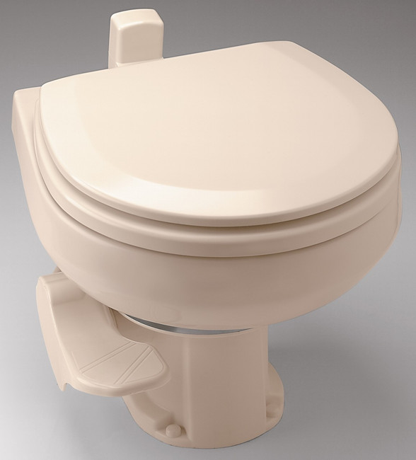The 146 toilet for below the floor discharge plumbing.  Shown in Bone color