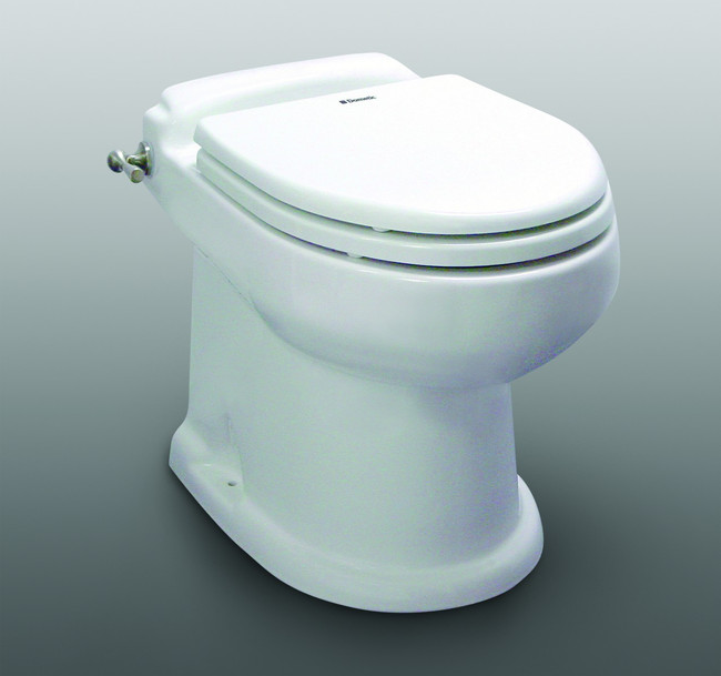 Sealand / Dometic 8700 Masterflush Macerator toilet Shown in White with flush handle