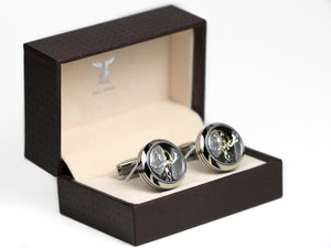 TF Est. 1968 - Tourbillon Cufflinks Polished Stainless Steel - www.Legendoftime.com - Chicago Watch Center