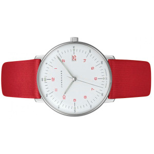 New for sale Junghans Watch 047/4541.00 Max Bill featuring matte white dial with red numerals and red leather strap, Date window available online at www.Legendoftime.com and in Chicago Legend of Time