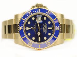 Rolex Watch - Blue 18ct Yellow Gold Submariner 116618LB Chicago Watch Center