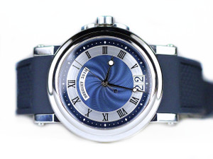 For sale pre-owned Breguet Watch Marine in Steel with  Blue Dial and Blue Rubber Strap reference # 5817, available online www.Legendoftime.com and in store Legend of Time - Chicago Watch Center