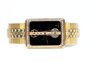 For Sale Unique and Rare timepiece Corum Watch Golden Bridge Vintage Circa 1980's Yellow Gold with Diamonds and Black Reference # 1320.31112 available online www.Legendoftime.com and in store Legend of Time - Chicago Watch Center