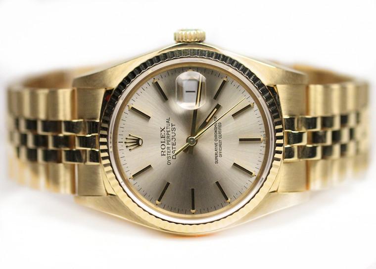 Rolex Watch- Datejust 36mm Yellow Gold Fluted Bezel Jubilee
