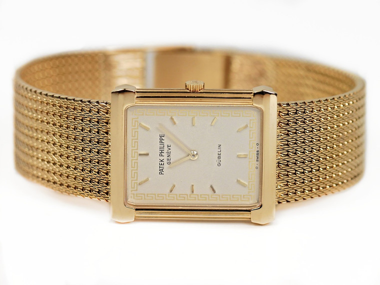"""For sale Vintage Patek Philippe Rectangular Gubelin Gold """"Les Grecques"""" 3775 available in stock online www.Legendoftime.com and in Chicago Watch Center - Legend of Time"""