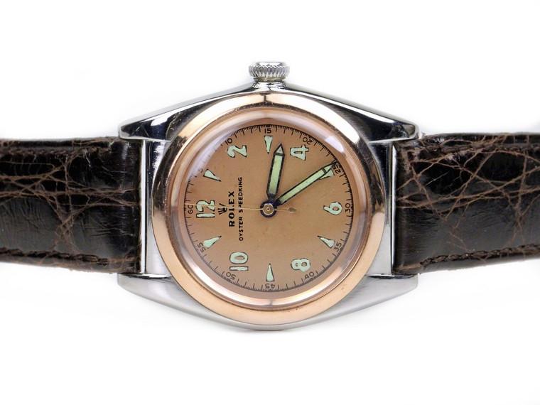"Rolex Watch- Speedking ""Bubbleback"" Vintage Circa 1944 Model 3133"