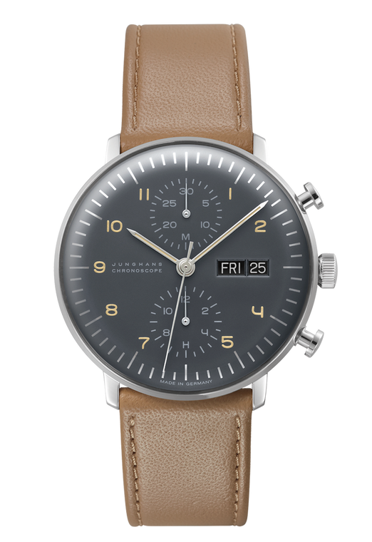 Front Junghans Max Bill Chronoscope Chronograph Grey Dial Mens Watch 027/4501.05