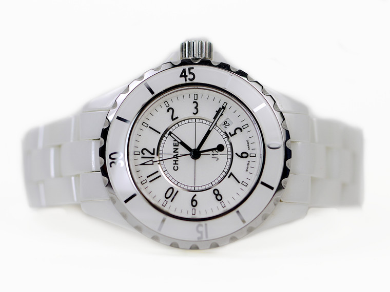 For sale used Ladies Chanel Watch - J12 White Ceramic 33mm Quartz H0968 available online and in store www.Legendoftime.com Chicago Watch Center