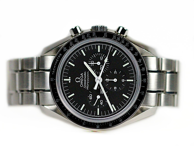 For sale used Omega Watch Speedmaster Moonwatch Professional Chronograph with Transparent case back Ref # 35735000 available online and in store Legend of Time - Chicago Watch Center