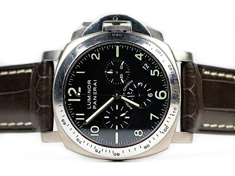 Used Panerai Watch Luminor Titanium PAM 0074 Chronograph Zenith Movement available for sale Legend of Time Chicago Watch Center