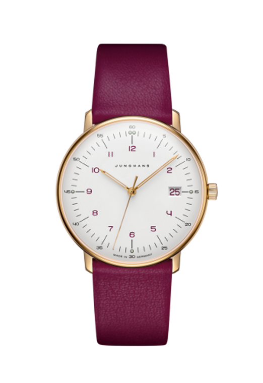 Max Bill Ladies Quartz Gold PVD Case White Dial Red Numerals Date by Junghans 047/7850.00 (4000897363161)  for sale online www. Legendoftime.com and in store Chicago Watch Center - Authorized Junghans USA & Canada Dealers.