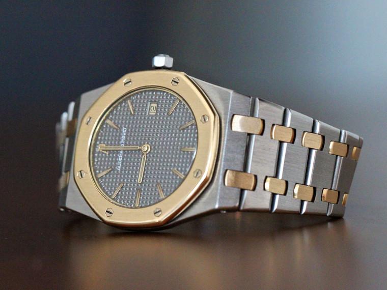 Audemar Piguet Royal Oak Ultra Thin Watch Date 33mm Yellow Gold/Steel Grey Dial