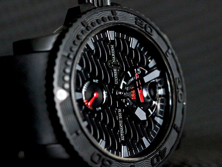 Ulysse Nardin Watch - Marine Diver Black Ocean 236-38 Limited Edition for sale online www.Legendoftime.com and in Store Chicago Watch Center.  Pre-owned, complete with original box & papers.
