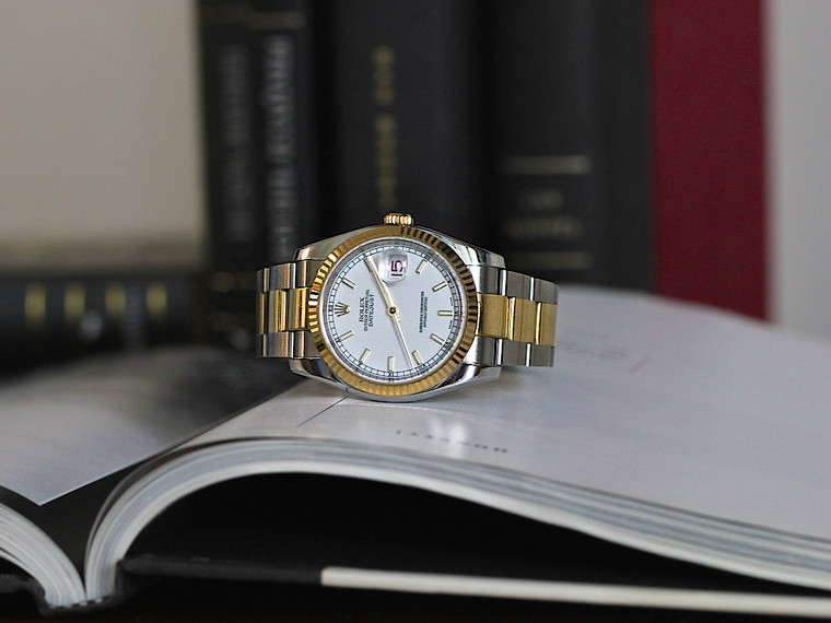 Rolex Datejust 116233 Two Tone Oyster 36mm 18k Fluted Bezel White Stick Dial BP