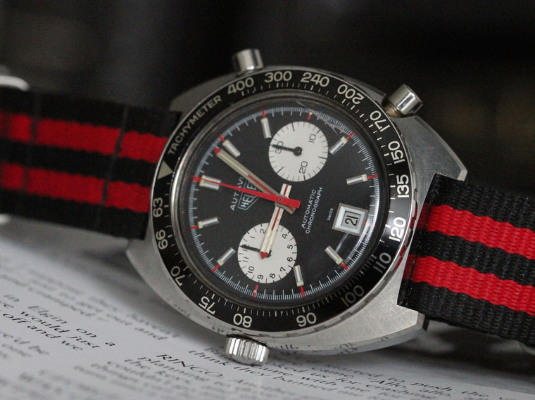 For sale Vintage 1970s Heuer Autavia 1163 Chronograph Mens Steel Date Watch Nato Cal 12 (1163)