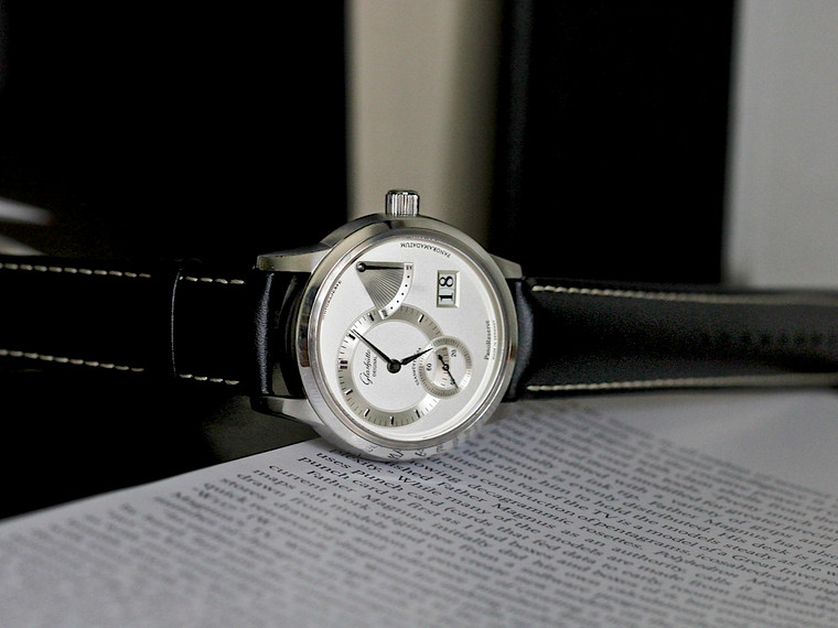 For sale pre-owned luxury German timepiece. Glashütte Original PanoReserve Date Power Reserve Watch 65-01-02-02-04.  Available for purchase online and in store at Legend of Time Chicago.