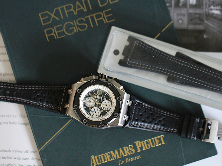 For sale Pre-Owned Audemars Piguet Royal Oak Rubens Barrichello II 26078IO.OO.D001VS.01 Titanium Black Ceramic Limited Edition Rare, archival papers and new unopened leather strap.  Located in Chicago, free shipping in USA. Legend of Time 1 Year Warranty.