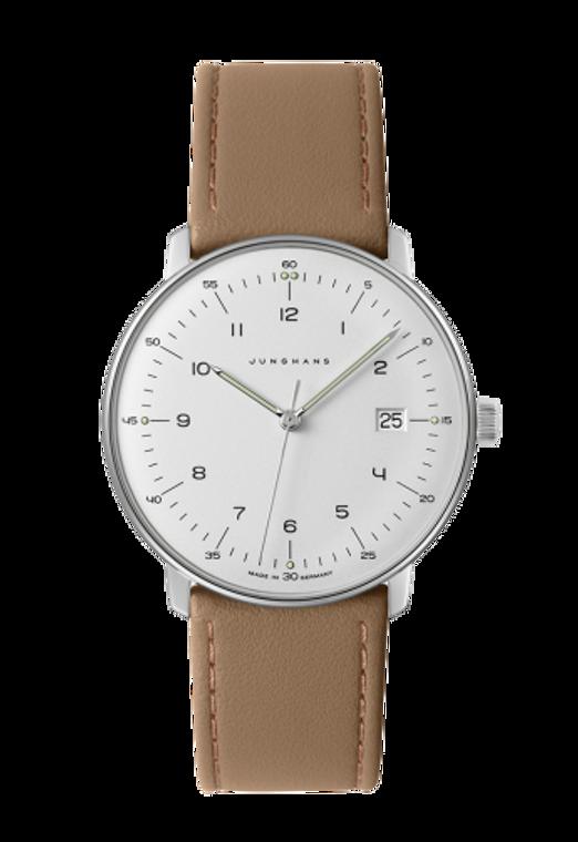 JUNGHANS MAX BILL watch Quartz 041/4562.04.  Iconic Bauhaus watch design, silver dial & tan leather strap. 2 Year Warranty