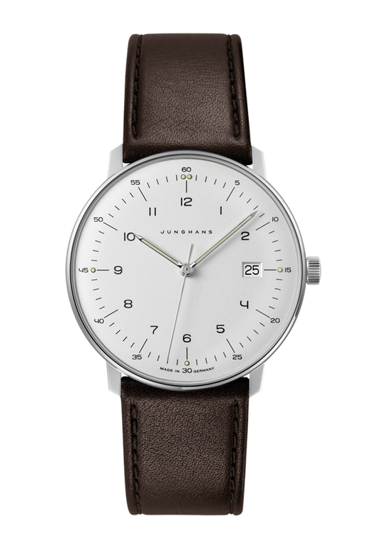 For sale JUNGHANS MAX BILL numerals date silver dial QUARTZ 041/4461.04 - Classic Bauhaus design, made in Germany.  Available now at Legend of Time , Chicago watch store.