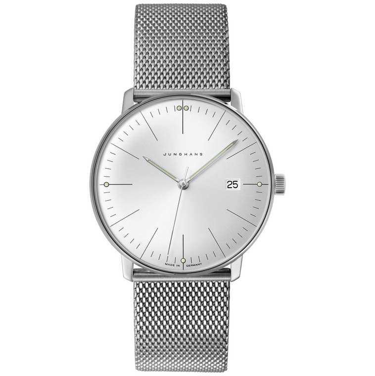 For sale Junghans Max Bill Quartz 041/4463.48 Silver Dial Milanese Men's Watch, New with Authorized seller warranty of 2 Years, free shipping from Legend of Time Chicago.