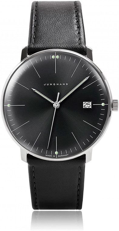 For sale JUNGHANS MAX BILL AUTOMATIC 027/4701.04 BLACK DIAL LEATHER STRAP, Date , luminous hands.  New from an Authorized Junghans dealer in the USA. Legend of Time, Chicago.