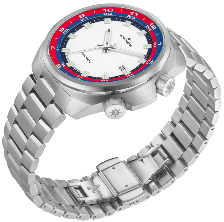 New for sale JUNGHANS watch 1972 FIS Limited Edition Blue & Red Bezel Bracelet & 2 straps, available at Legend of Time Chicago