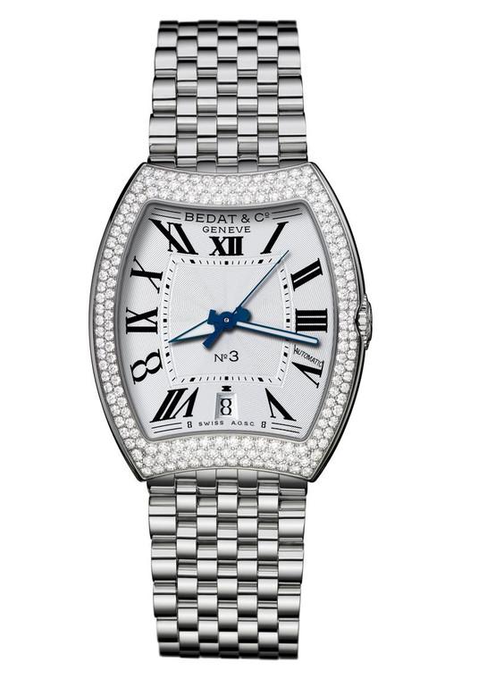 BEDAT & CO Nº 3 Opaline Guilloche Dial, Diamond Bezel, Steel Ladies Watch 315.031.100