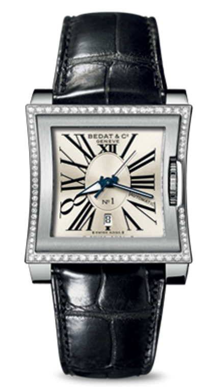 For sale BEDAT & CO Nº 1 Opaline Silver Sun Brushed Dial, Diamond Bezel, Steel Ladies Watch 118.020.101, available at Legend of Time Watches Chicago.
